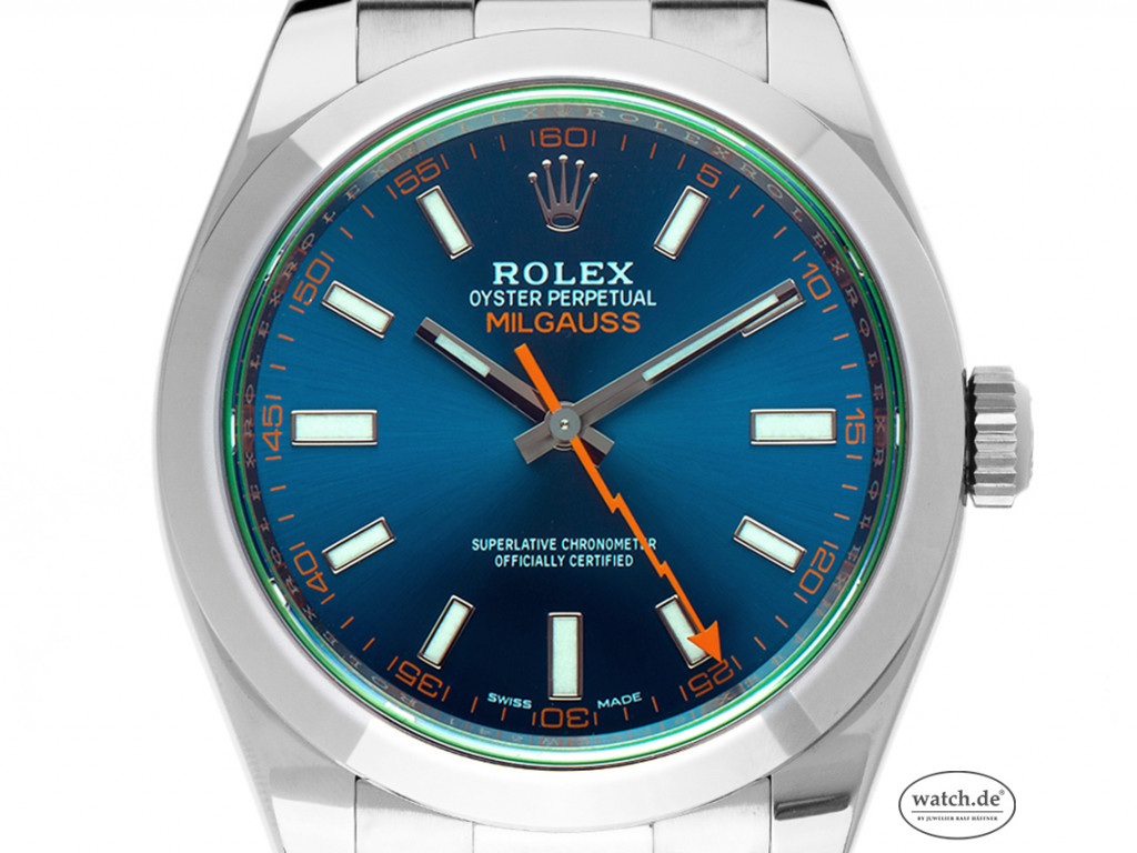 Rolex Oyster Perpetual Milgauss Elektroblau Stahl Automatik 40mm Ref.116400GV Bj.2020 Box&Pap. LC EU Full Set Ungetragen