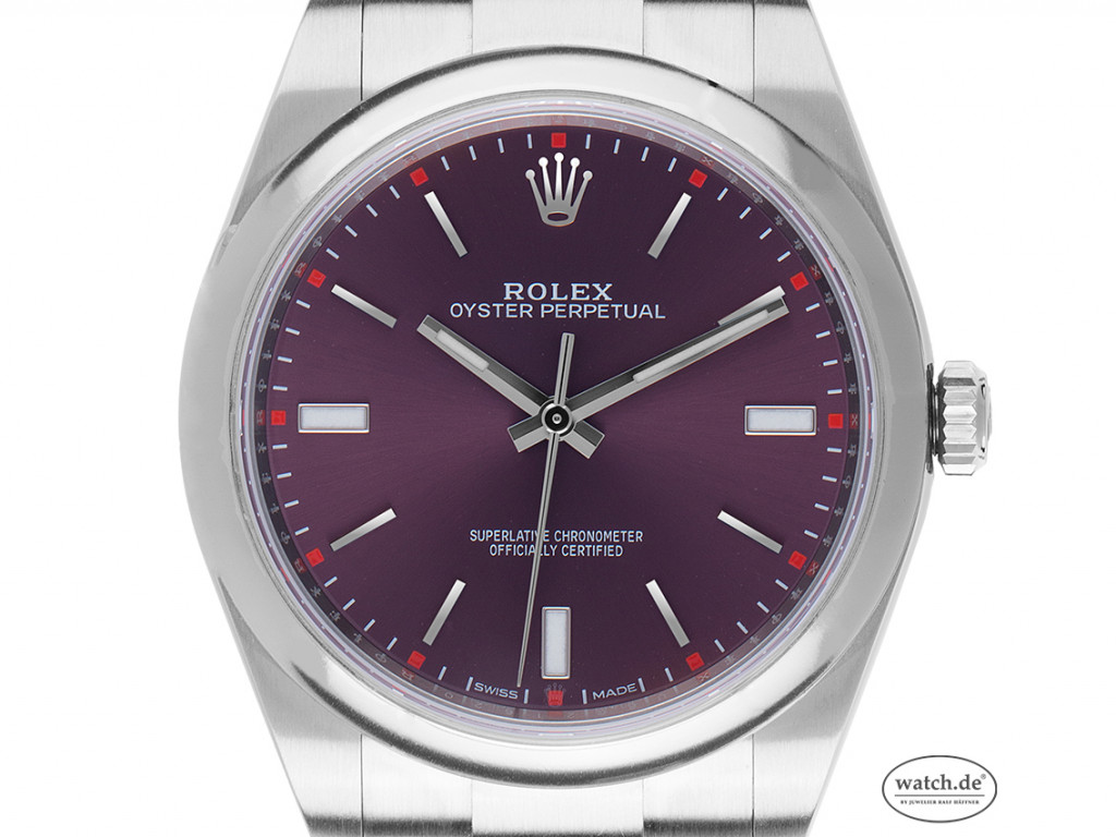 Rolex Oyster Perpetual Red Grape Stahl Automatik Armband Oyster 39mm Ref.114300 Bj.2016 Box&Pap. LC100 Full Set wie Neu
