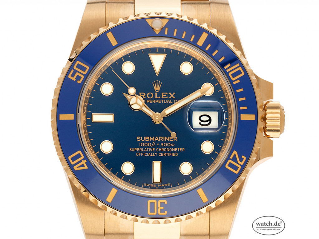 Rolex Submariner Date 18kt Gelbgold Automatik Armband 18kt Gelbgold 40mm Ref.116618LB Bj.2020 Box&Pap. LC100 Full Set Ungetragen