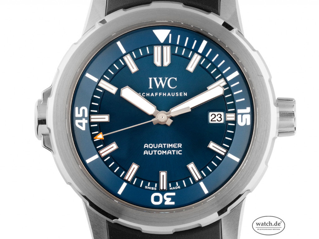IWC Aquatimer Expedition Jacques-Yves Cousteau Stahl Automatik Armband Kautschuk 44mm Ref.IW329005 Bj.2018 Box&Pap. Full Set wie Neu mit Zertifikat über 5.700,-€
