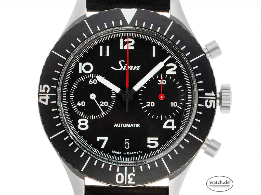 Sinn Bicompax Chronograph Stahl Automatik Armband Leder 43mm Limitiert Box&Pap. Full Set Neu mit Zertifikat über 2.590,-€