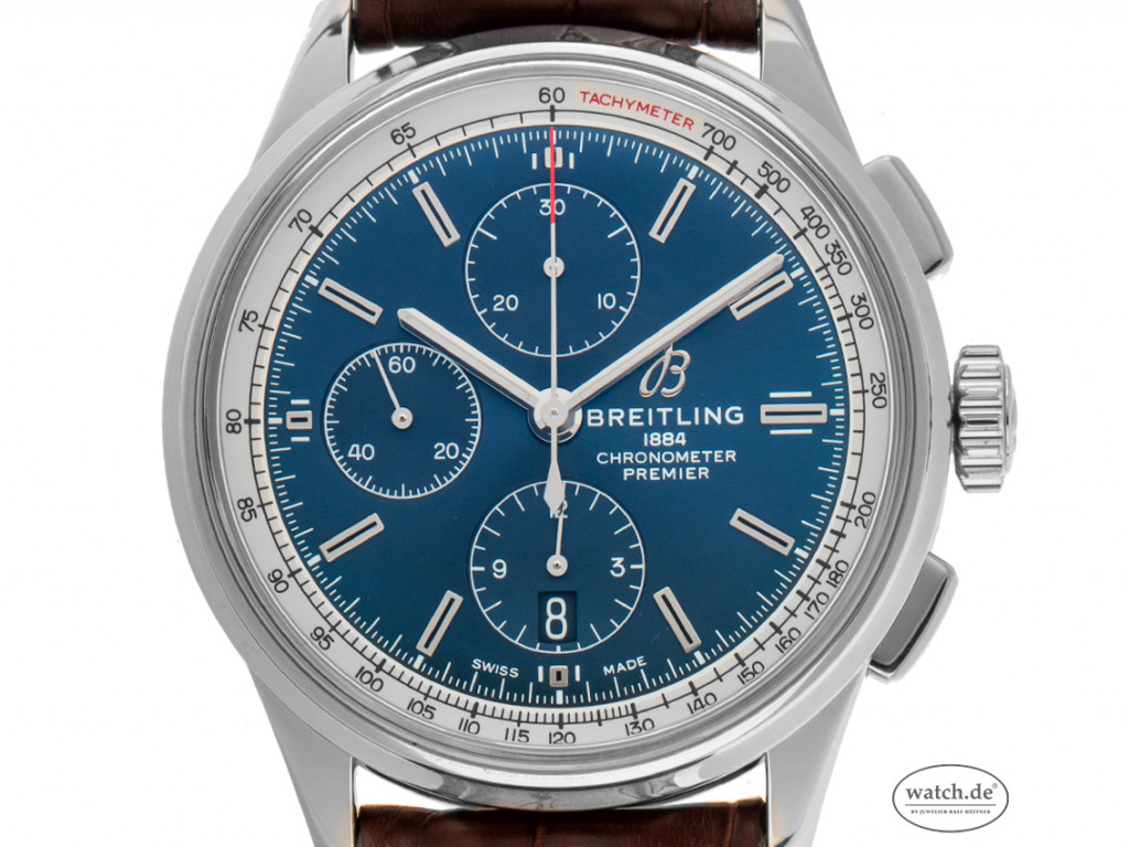 Breitling Premier Stahl Automatik Chronograph Armband Leder Faltschließe 42mm Ref.A13315351C1P1 Bj.2019 Box&Pap. Full Set wie Neu mit Zertifikat über 5.550,-€