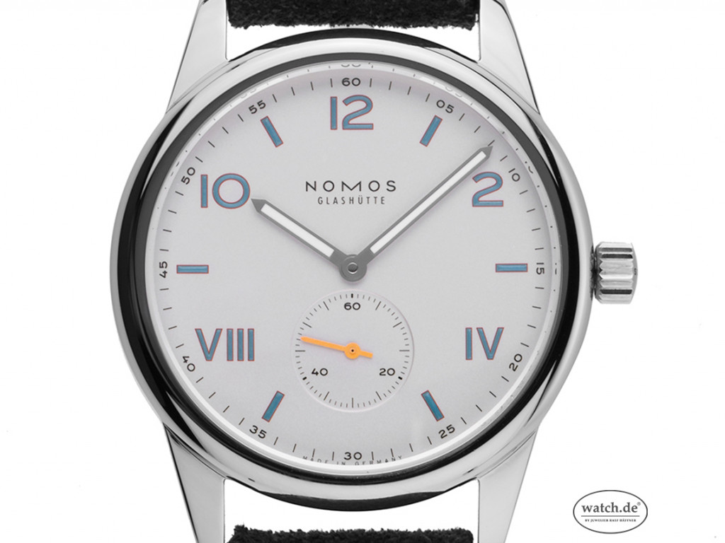 Nomos Glashütte Club Campus Stahl Handaufzug Armband Leder Glasboden 38mm Box&Pap. Full Set Neu mit Zertifikat über 1.400,-€
