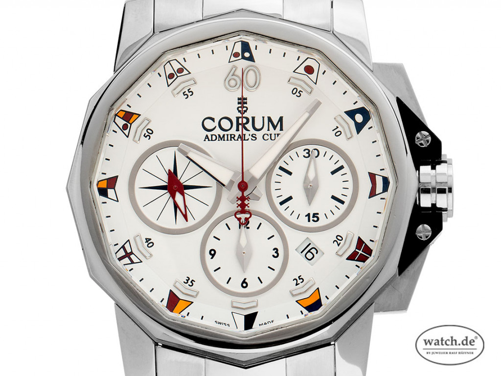 Corum Admiral's Cup Stahl Automatik Chronograph Armband Stahl 42mm Ref.01.0007 Bj.2015 Box&Pap. wie Neu mit Zertifikat über 6.500,-€