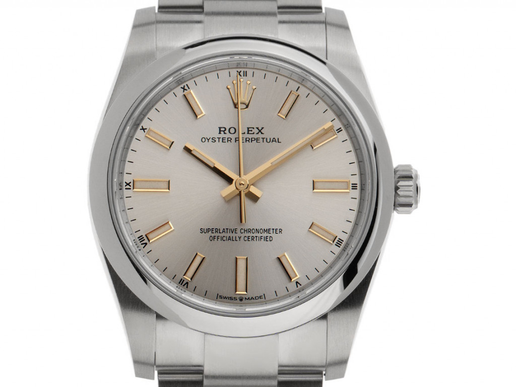 Rolex Oyster Perpetual Stahl Automatik Armband Oyster 34mm Ref.124200 Bj.2021 Box&Pap. Full Set Ungetragen