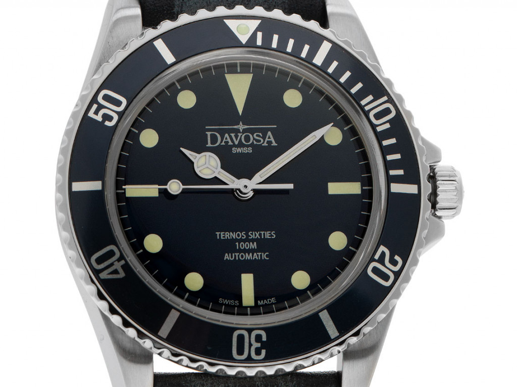 Davosa Ternos Sixties Stahl Automatik Armband Leder 40mm Bj.2020 Box&Pap. Full Set Neu mit Zertifikat über 698,- €