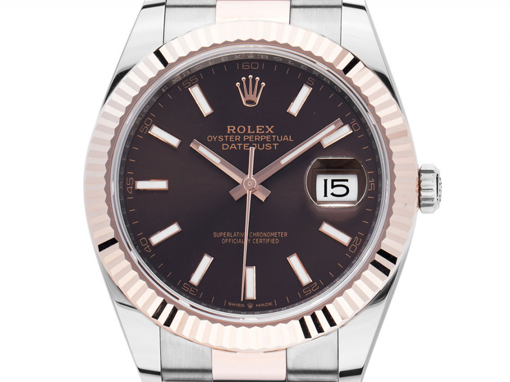 Rolex Datejust 41 Stahl Roségold Everose Schokobraun Automatik Armband Oyster Ref.126331 Box&Pap. LC EU Full Set Ungetragen