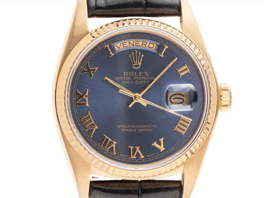 Rolex Day Date 18kt Gelbgold Automatik Armband Leder 36mm open 6/9 Ref.18038 Vintage Bj.1978 Box&Beschreibung
