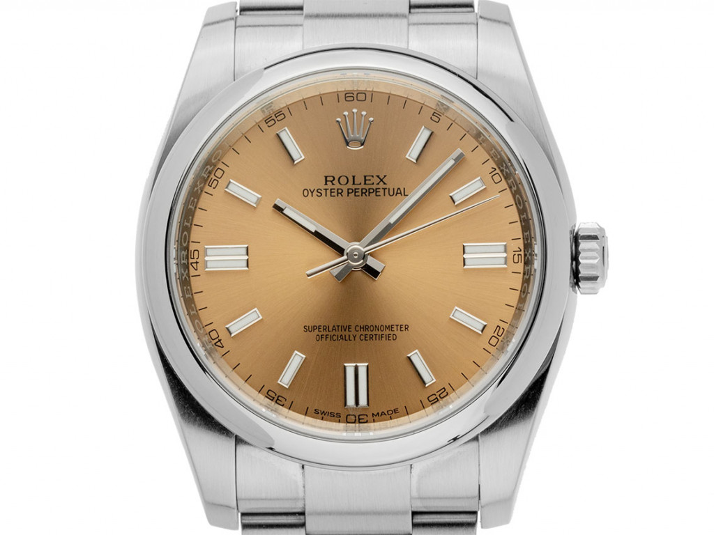 Rolex Oyster Perpetual White Grape Stahl Automatik Armband Oyster 36mm Ref.116000 Bj.2018 Box&Pap. Full Set Ungetragen