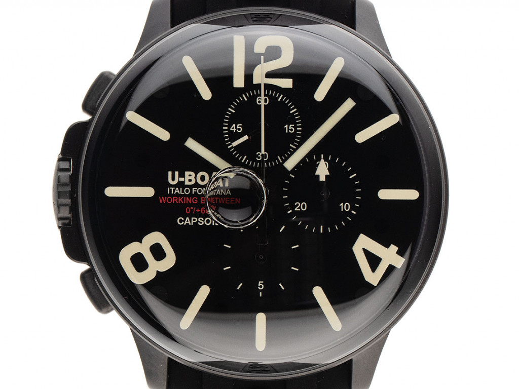 U-Boat Capsoil Stahl DLC elektromechanisch Chronograph Armband Kautschuk 45mm Ref.8109/A Box&Pap. Full Set UVP 1.780,-€ Neu