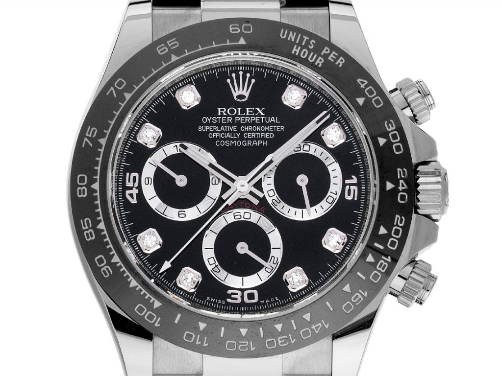 Rolex Daytona 18kt Weißgold Diamanten Automatik Chronograph Armband Kautschuk Faltschließe 40mm Ref.116519LN Bj.2021 Box&Pap. Full Set Ungetragen