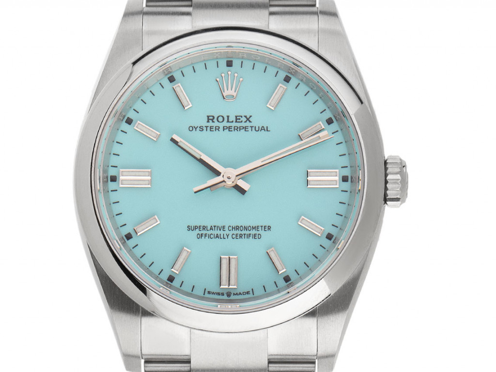 Rolex Oyster Perpetual Tiffany Stahl Automatik Armband Oyster 36mm Ref.126000 Bj.2021 Box&Pap. Full Set Ungetragen