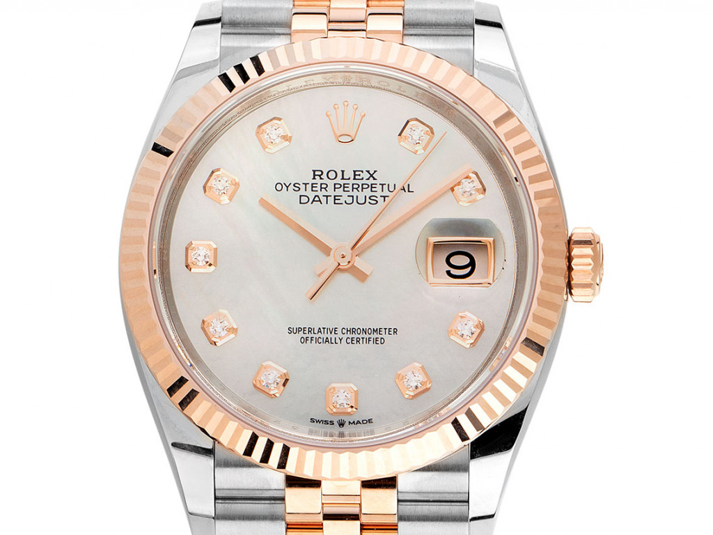 Rolex Datejust Stahl 18kt Roségold Everose Perlmutt Diamanten Automatik Armband Jubilé 36mm Ref.126231 Bj.2021 Box&Pap. Full Set Ungetragen