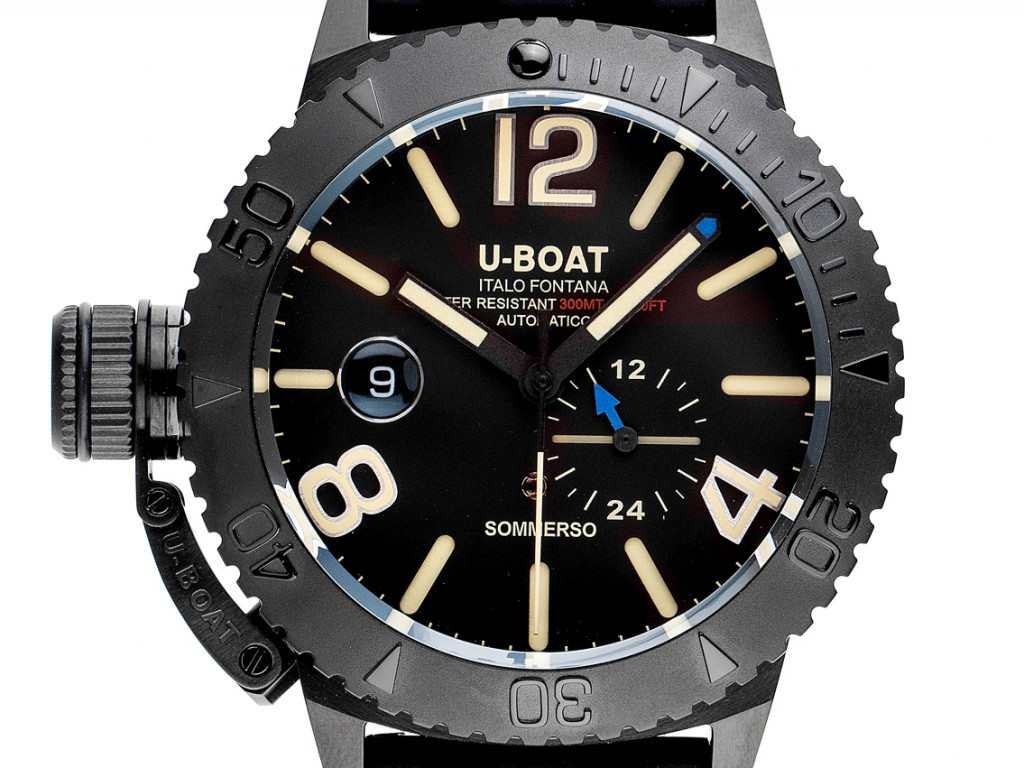 U-Boat Sommerso Stahl DLC Black Automatik Armband Kautschuk 46mm Ref.9015 Box&Pap. Full Set Neu