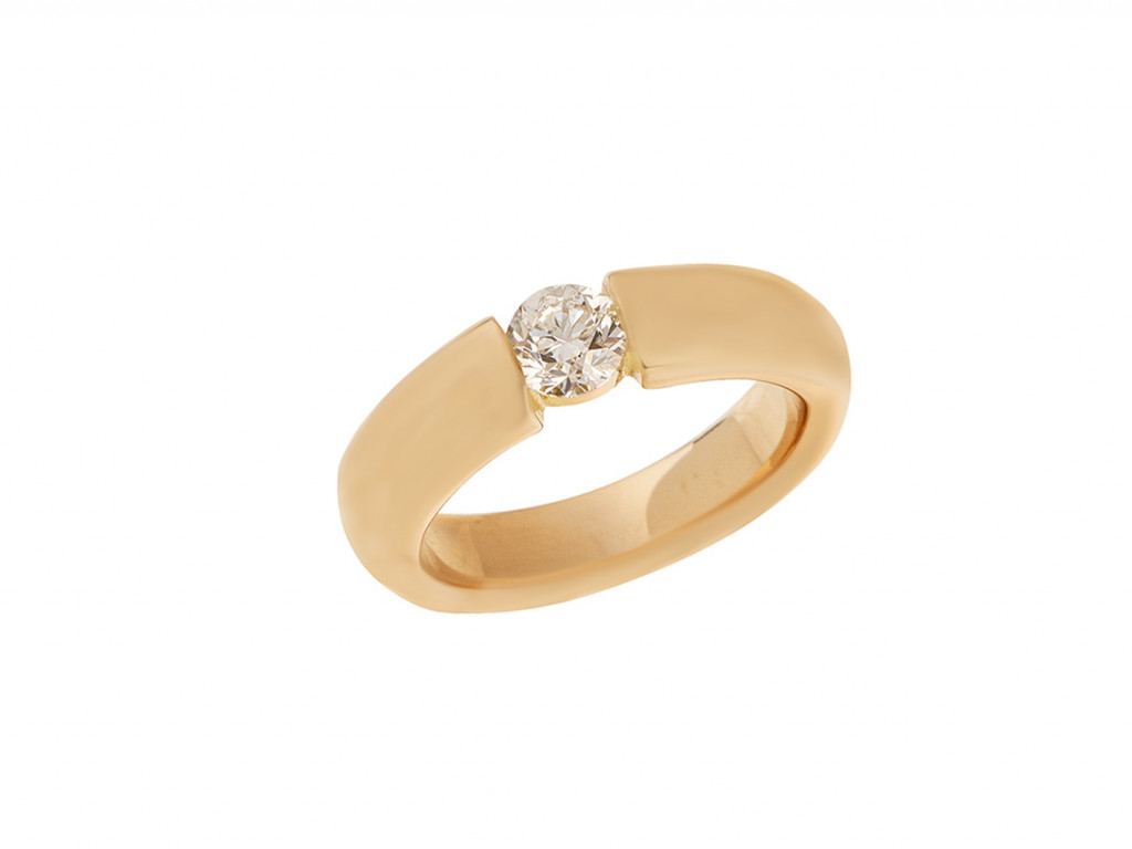 Wempe Ring Solitär 18kt Gelbgold massiv Spannring Diamant 0,50ct Neu
