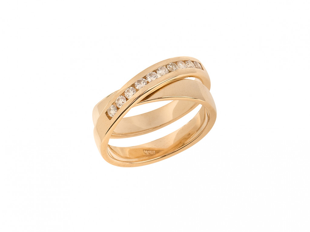 Ring 14kt Gelbgold Diamanten 0,30ct Neu