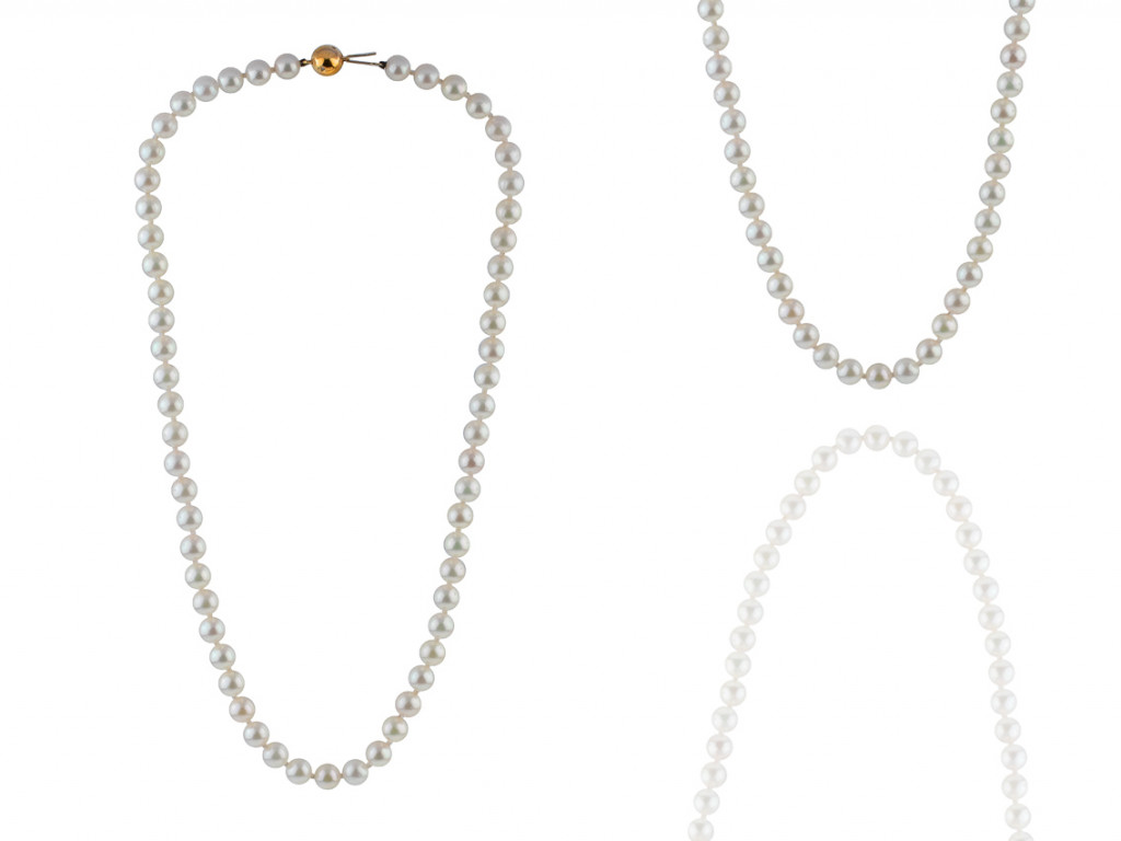 Collier Akoya Zuchtperlen 6,5mm Diamanten Länge 440mm Neu
