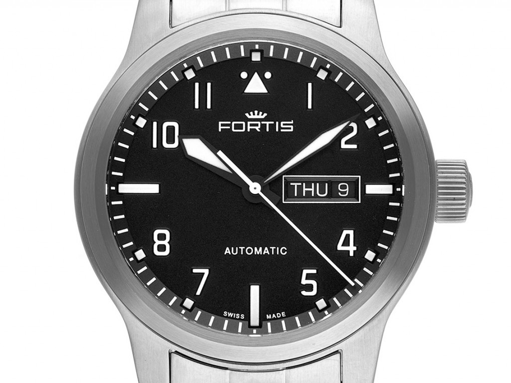 Fortis Aeromaster Steel Day-Date Stahl Automatik Armband Stahl 42mm Ref.F4020008 Box&Pap. Full Set Neu
