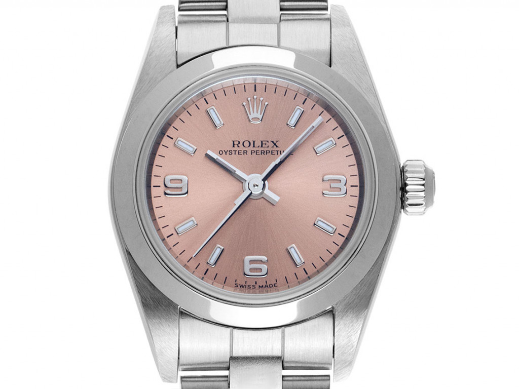 Rolex Oyster Perpetual Lady Stahl Automatik Armband Oyster 25mm Ref.76080 Vintage Bj.2003 Box&Pap. Full Set wie Neu