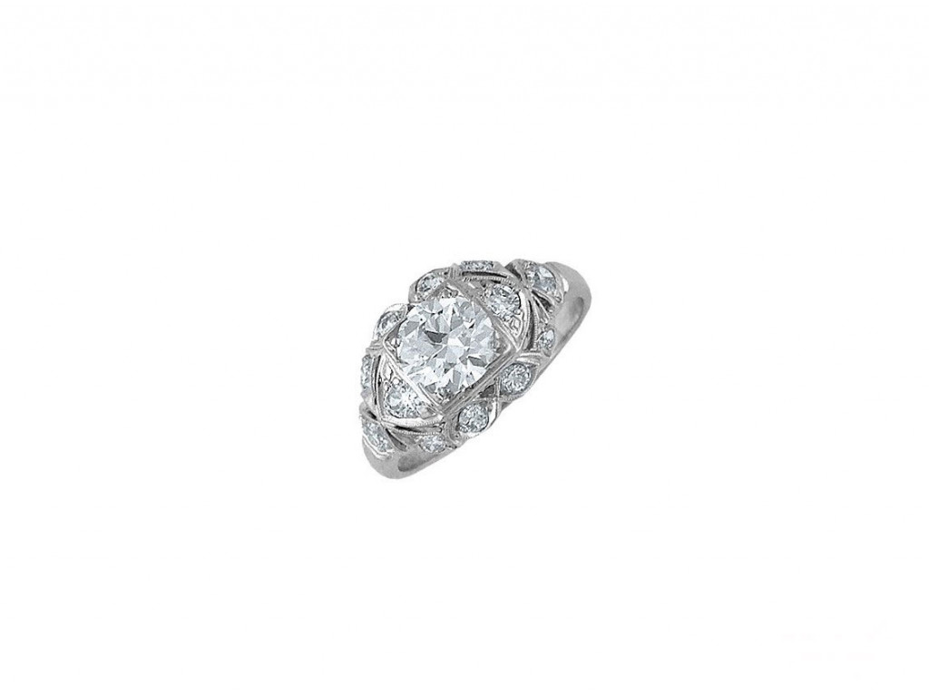Ring Platin Diamond 1,6ct Vintage Größe 54