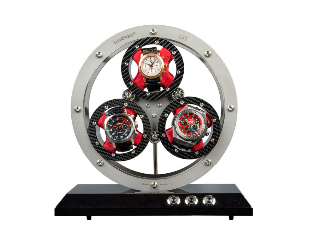 LumiSidus 3 Uhrenbeweger Edelstahl Carbon 28x28x17cm Neu UVP 5.800,-€