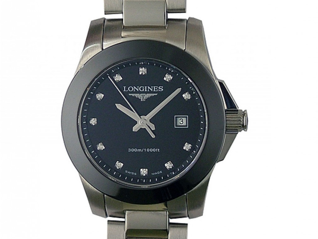 Longines Conquest Stahl/Keramik Quarz Diamond 30mm UVP 1.250.- Ungetragen