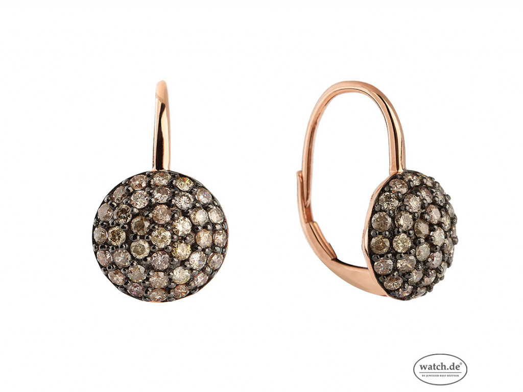 Ohrringe 18kt Roségold Diamanten braun Neu mit Zertifikat über 1.042,-€