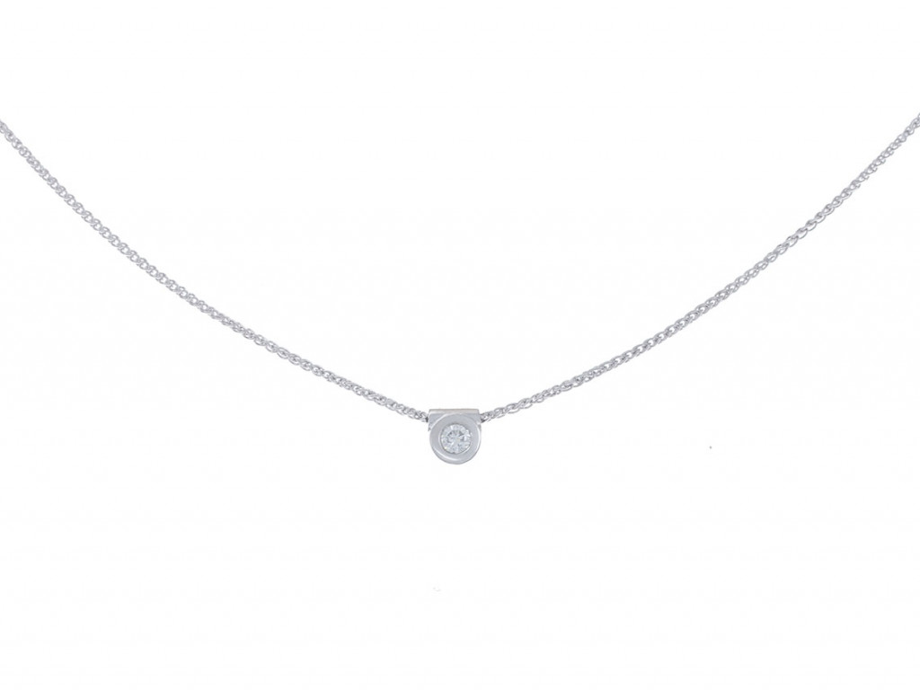 Collier Sölitär Weißgold Diamond 0,18ct Handarbeit UVP 2.800.- Neu