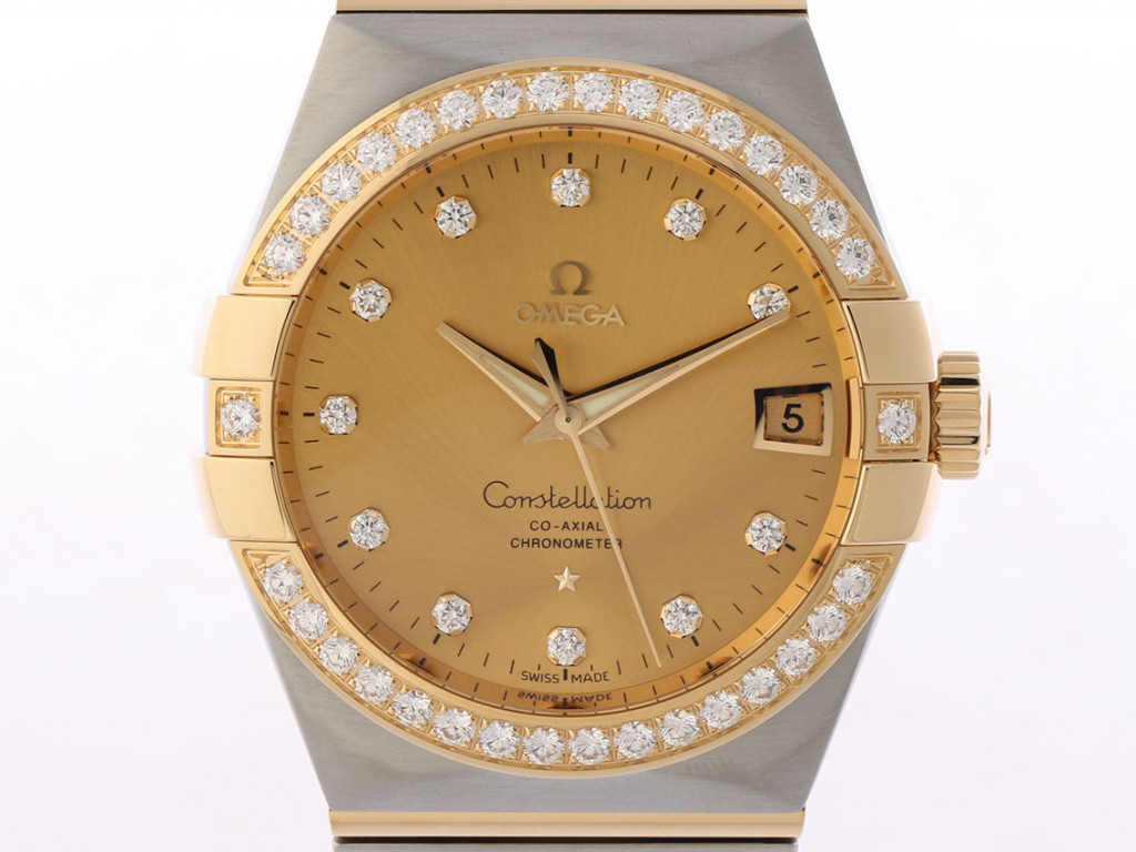 Omega Constellation Co-Axial Chronometer Stahl/Gelbgold Diamond Automatik 38mm Ungetragen mit Zertifikat über 15.200,-€