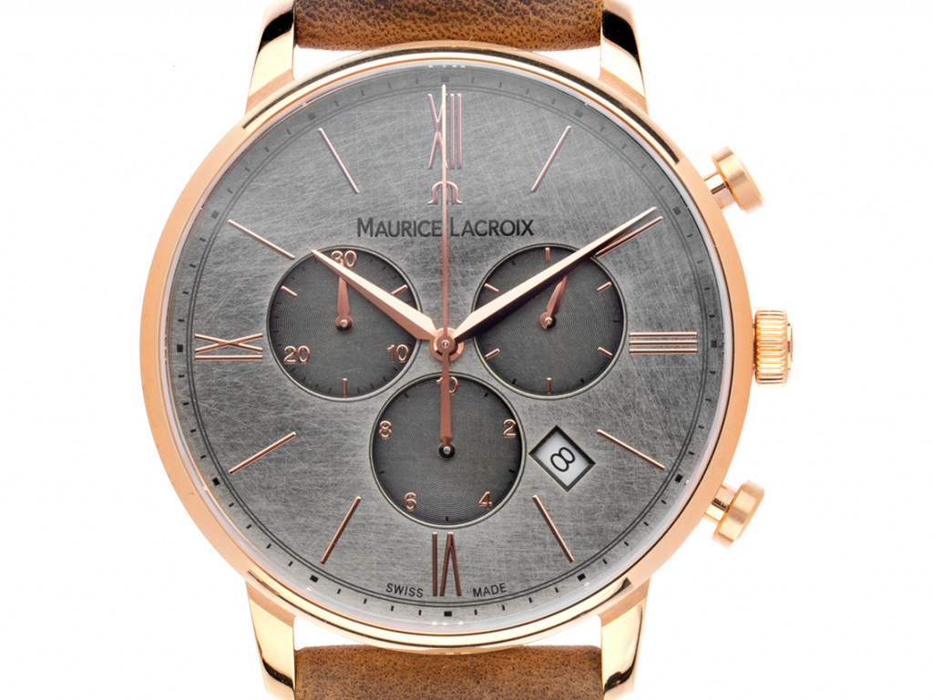 Maurice Lacroix Eliros Roségold Quarz Chronograph Armband Leder 40mm Bj.2021 Box&Pap. Full Set Neu UVP 895,-€