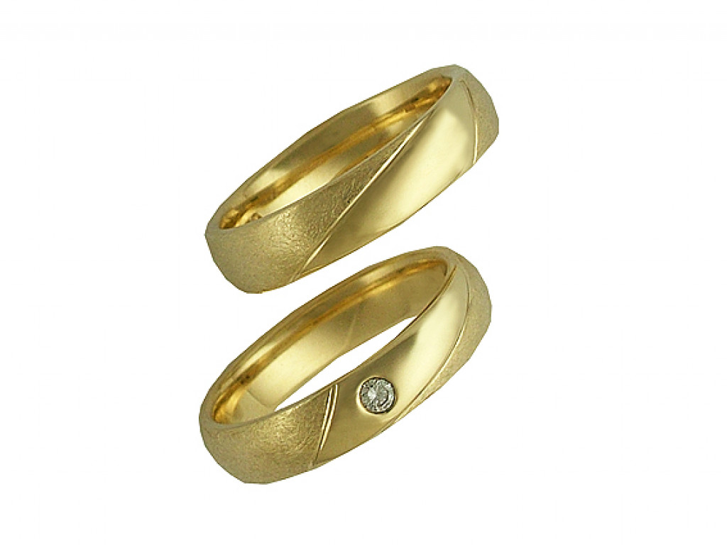 Trauring Set 14kt Gelbgold Diamond UVP 1.990,-