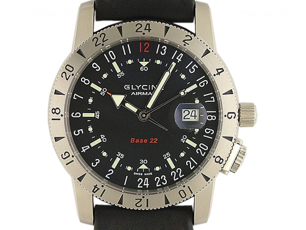 Glycine Airman Base 22 World Timer 3 Zeiger Automatic 42mm Neu