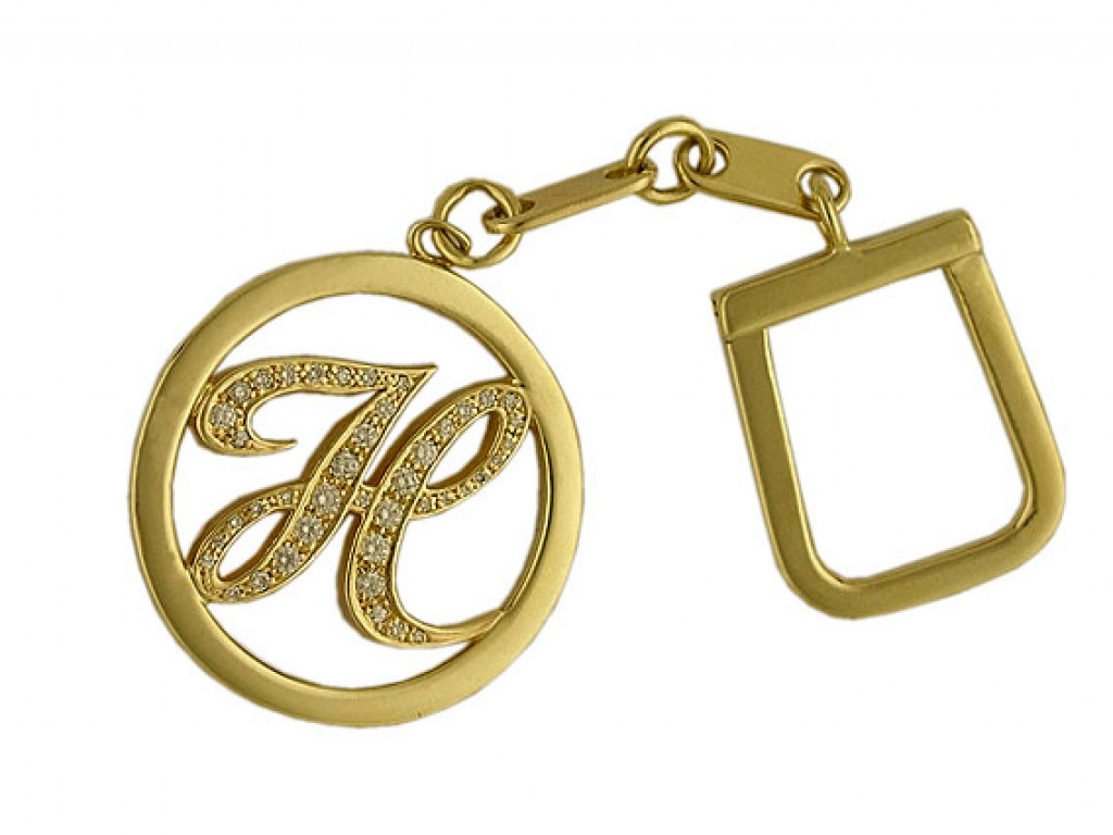 "Schlüsselanhänger ""Initiale"" 18kt Gelbgold Diamond Neu"