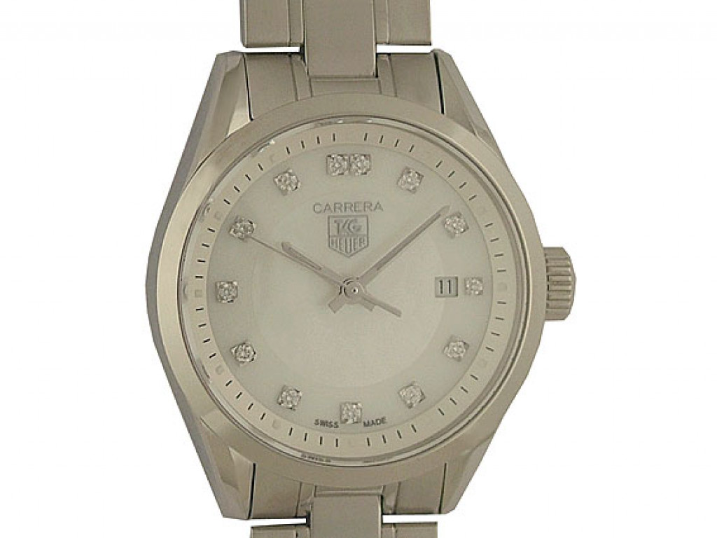 Tag Heuer Carrera Lady Diamond Perlmutt Stahl Quarz 27mm UVP 2.850,- Ungetragen
