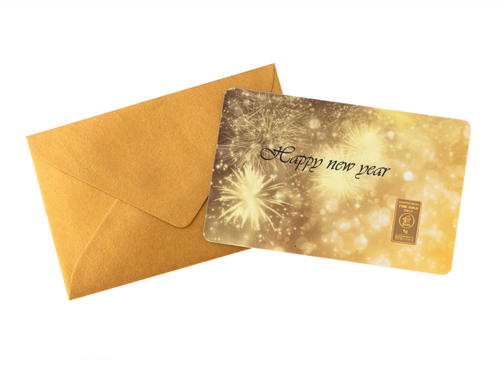 Goldbarren FineCard Happy New Year 999 Feingold 1g LBMA zertifiziert