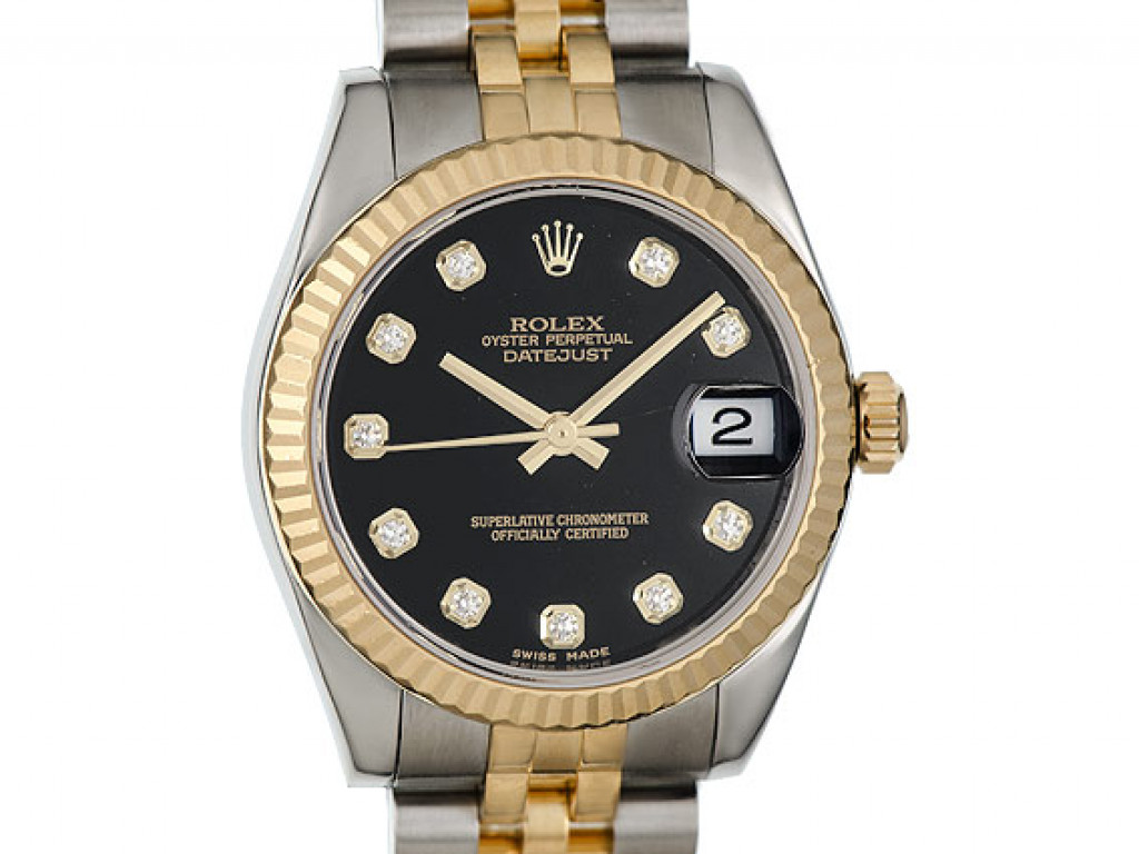 Rolex Datejust Medium 31mm Stahl Gelbgold Jubilé Armband Diamond Ref. 178273 Ungetragen