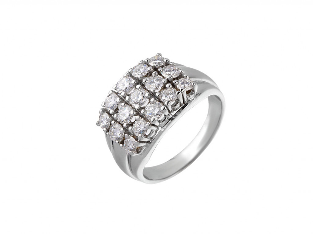 Ring 14kt Weißgold Diamanten 1,50ct Handarbeit mit Zertifikat über 3.450,-€